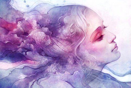 kvinne i skyer