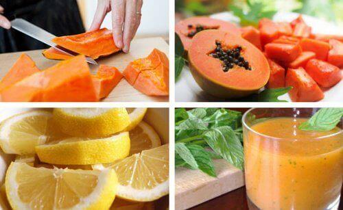 Smoothie med sitron og papaya for magen