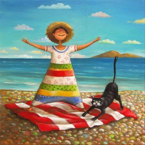 katt-på-stranden