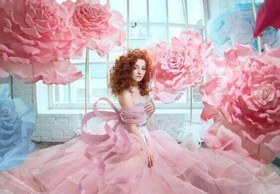 kvinne-roser