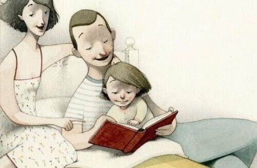 far-og-mor-leser-pa-sengen