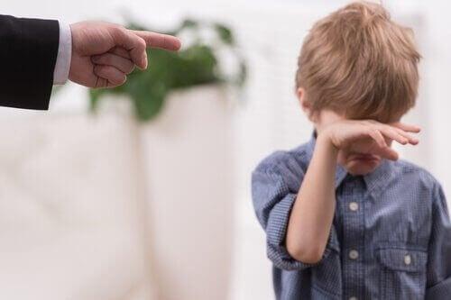 Gutt gråter mens faren peker med en finger