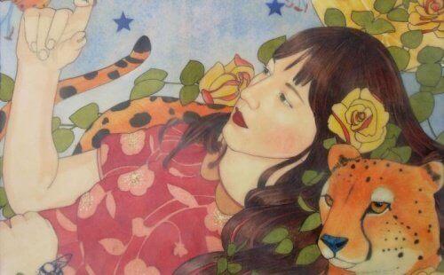 Kvinne og gepard