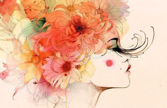 kvinne-blomster