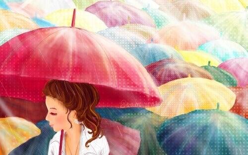 Fargerike paraplyer for skytunge dager