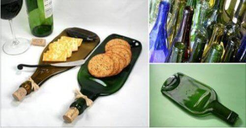 Hvordan lage et unikt fat for snacks med en glassflaske