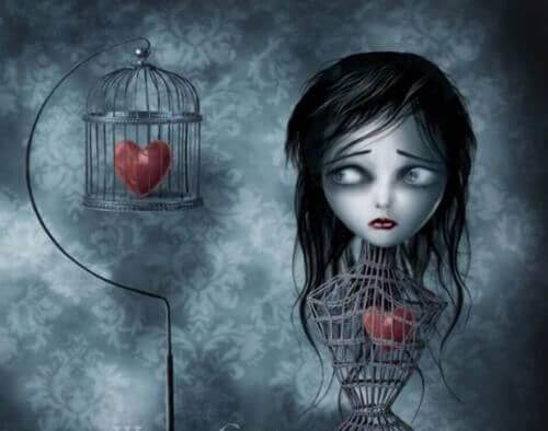 kvinne-med-hjerte-i-et-bur