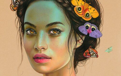 1-kvinne-med-sommerfugler-i-haret