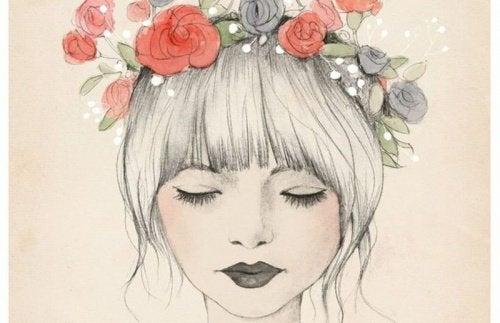 kvinne-blomsteriharet