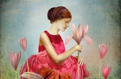kvinne-med-blomster