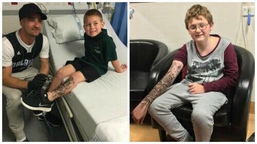 """Mann gir """"midlertidige tatoveringer"""" til syke barn for styrke"""