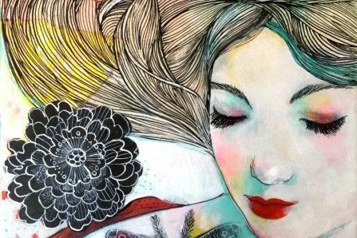 Tegnet kvinne og en blomst