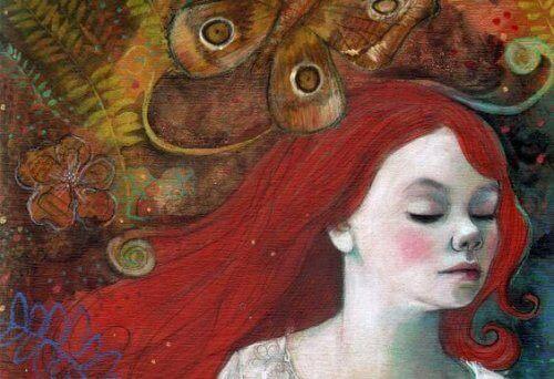 Tegnet rødhåret kvinne