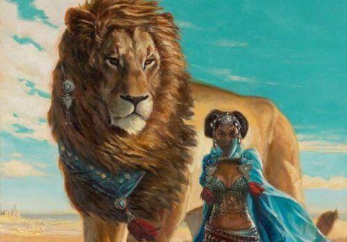 Kvinne med løve