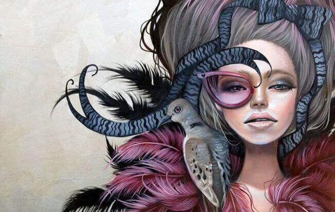 Kvinne med fugl