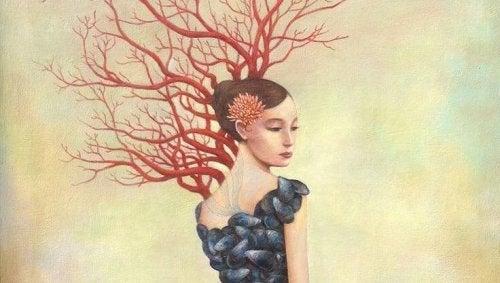 Kvinne med grener