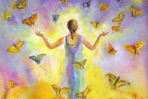tegning, kvinne med sommerfugler
