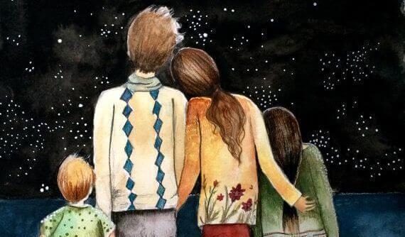 familie ser på stjernene
