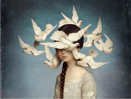 jente med fugler