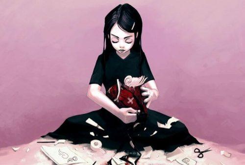 jente reparerer odelagt hjerte