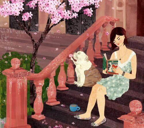 Kvinne og hund opplever ulike typer lykke