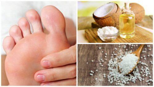 Peeling for føttene med kokosolje og salt