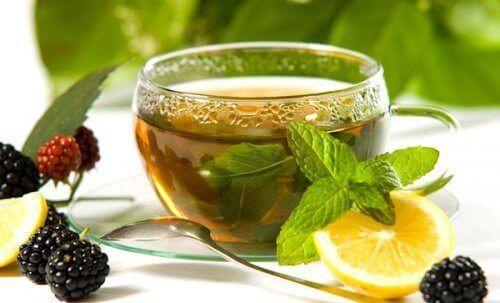 Grønn te med sitron og ingefær
