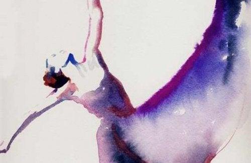 Akvarellmaleri av kvinne som danser