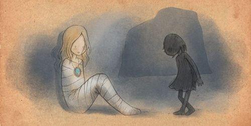 Kvinne fanget i mørket