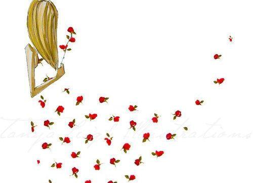 Kvinne med blomstrete kjole