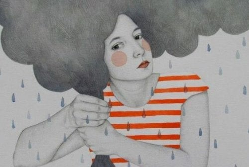 Kvinne med regnsky som hår