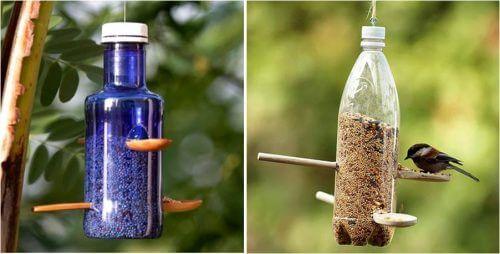 Fuglemater av resirkulerte plastflasker