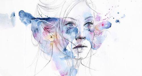 Kvinne i akvarell