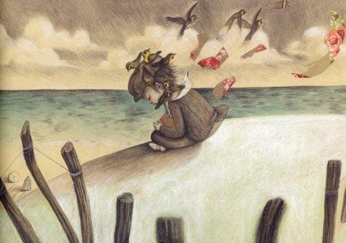 Trist jente sitter på stranden