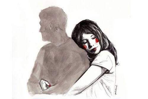 Kvinne klemmer skygge av mann
