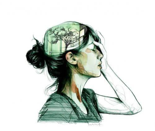 Kvinne med tre i tankene