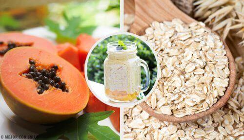 Smoothie med papaya, eple og havre for å balansere fordøyelsessystemet