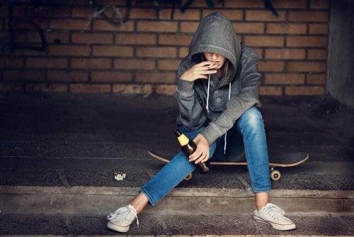 Barn som røyker og drikker
