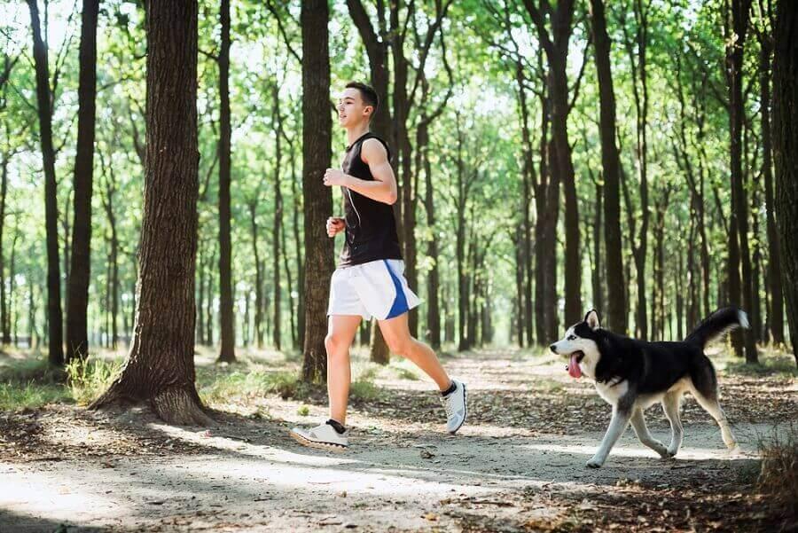 Mann og hund løper i skogen