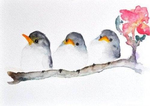 Fugler sitter på en gren