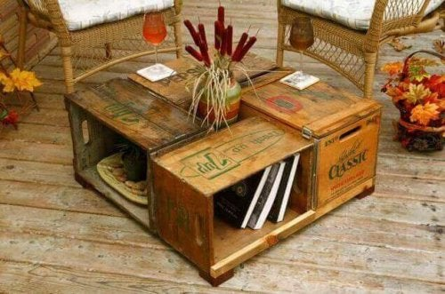 Fruktkasser som stuebord