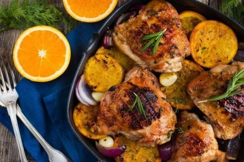 Utsøkt bakt kylling med appelsin og rosmarin