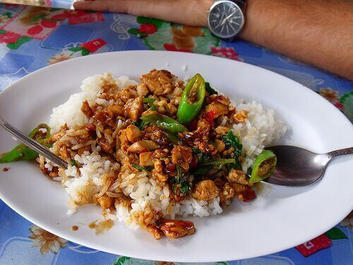 Kinesisk ris med kylling og honning
