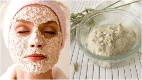 Ansiktsmaske med yoghurt og havregryn mot hudormer
