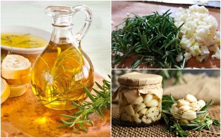 Lær å lage en smakstilsatt olje med rosmarin og hvitløk