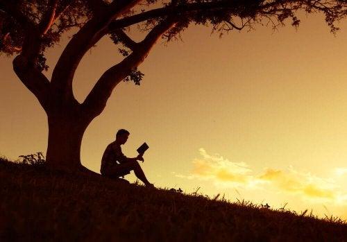 Mann leser bok under et tre