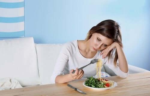 Deprimerte mennesker uten matlyst.