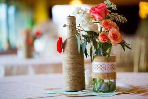Flaske med blomster