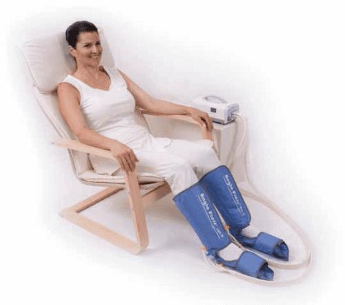 En kvinne bruker pneumatisk kompresjon