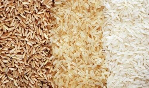 Tre forskjellige typer ris